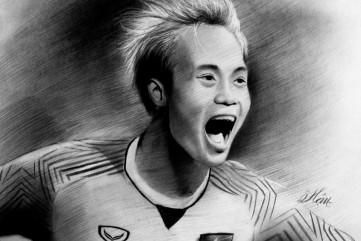 9X Quảng Ngãi vẽ chân dung các cầu thủ để cảm ơn Olympic Việt Nam
